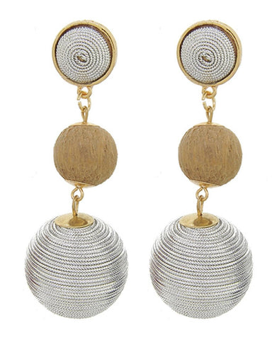 Fashion Trendy Thread Ball Dangle Earrings for Women / AZERPP563-GSB