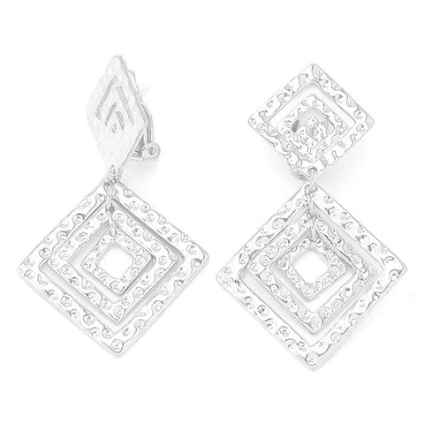 Textured Metal Diamond Shape Hoop Clip on Earrings / AZERCO430-SIL