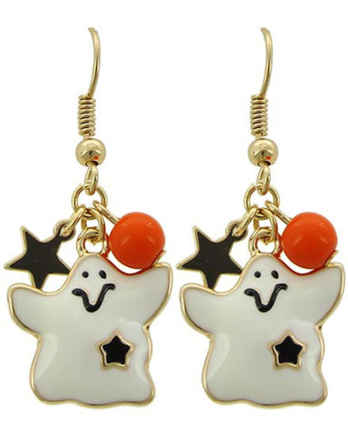Fashion Halloween Ghost Dangle Fish Hook Earrings For Women / AZERFH545-GWR-HAL