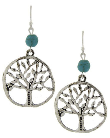 Burnished Silver Turquoise Tree of Life Drop Earrings / AZERFH841-AST