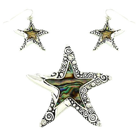 Sea Life Theme Starfish Abalone Pendant Set / AZNSSEA146-ASB