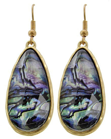 Matte Gold Tone Multi Color Abalone Teardrop Dangle Earring/ AZERAB086-GMU