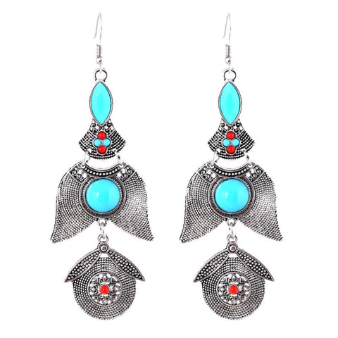 Trendy Bohemian Statement Vintage Ethnic Drop Long Earrings / AZERAL020-ASL