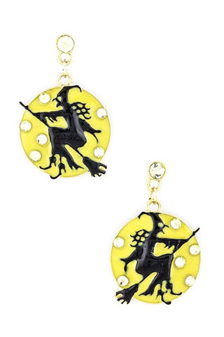Halloween Witch Earrings / Color - Yellow Black