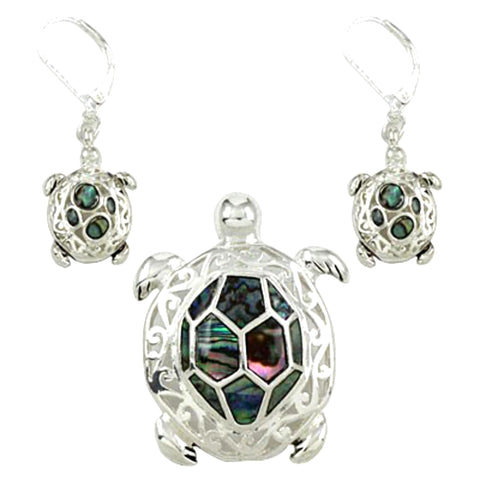 Sea Life Theme Turtle Abalone Pendant Set / AZNSSEA173-ASB