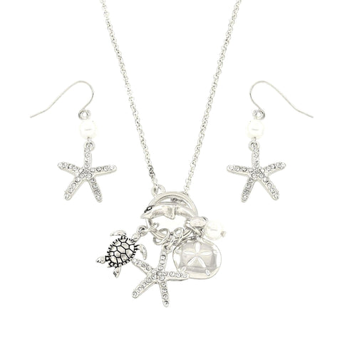 Sea Life Theme Starfish Turle Dolphin Necklace Set / AZNSSEA212-SIL