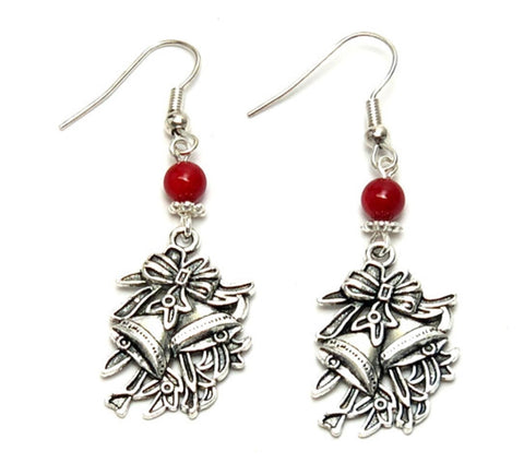 Christmas : Antique Silver Christmas Bell Dangle Fish Hook Dangle Earrings For Women / AZAEXA006-ASL