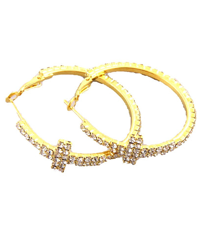 Fashion Trendy Hoop Cross Earrings with Rhinestones For Women / AZERFH063-GCL