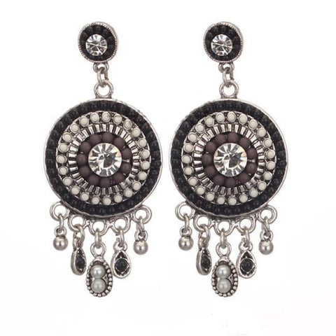 Round shield Pearl Multi- Drop Earrings / AZERFH218-GBB