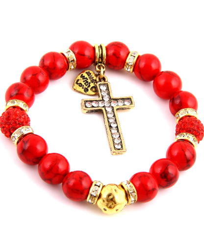 Elastic Stretch Bracelet with rhinestone Cross / Color: Gold-Red / AZBRST037-GRD
