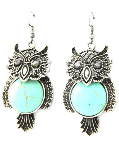 Trendy Fashion Owl Dangle Antique Silver Turquoise Stone Earring / AZERFH524-ASL-HAL