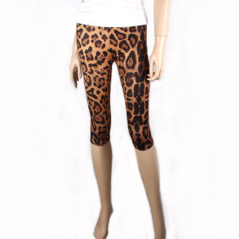 Fashion Trendy Animal Print Short Capri Legging For Women