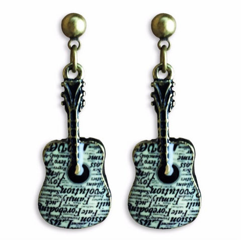 Music Guitar Colorful Enamel Alloy Drop Earring / AZERAL027-AGB
