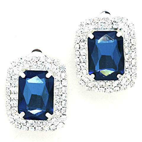Rectangle Crystal Rhinestone Clip On Earrings / AZERCO965-SBL