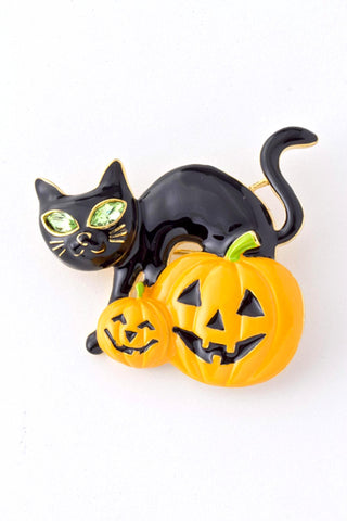 Arras Creations Black Cat Halloween Brooch - Gold Tone