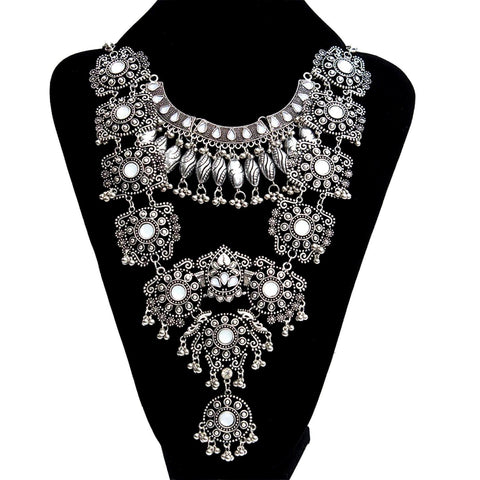 Arras Creations Fashion Statement Bohemian Collar Choker Tassel Coin Gypsy Necklace for Women / AZBTBN028-ASC