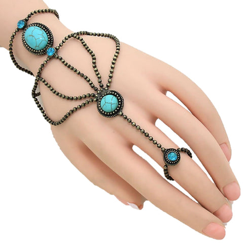 Fashion Howlite Bead Hand Chain Bracelet and Ring Set/Hand Chain Bracelet for Women