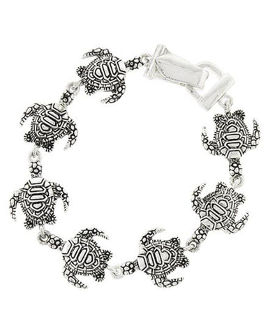Sea Life / Turtle Antique Silver Bracelet / AZBRSEA776-ASM