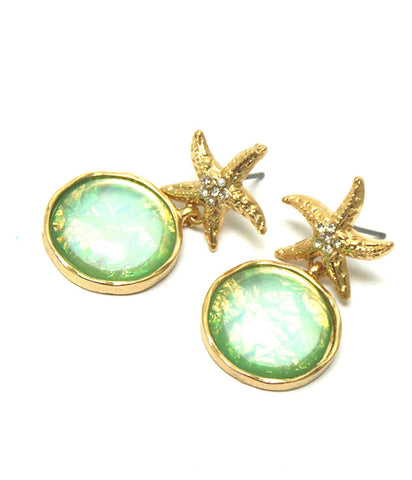 Sea Life / Beach Crystal Starfish and Abalone Finish Bubble Dangle Earring / AZERSEA002-GGR