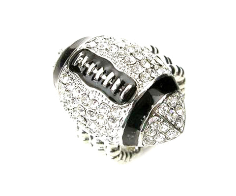 Sports Football - Crystal Stud Football Stretch Ring / AZSJRI001-SBK