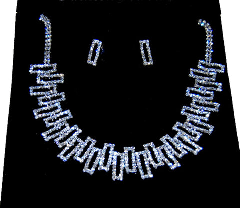Silver Tone Rhinestone Necklace & Earring Set Pageant Prom Wedding Party / AZBLRH024-SCA