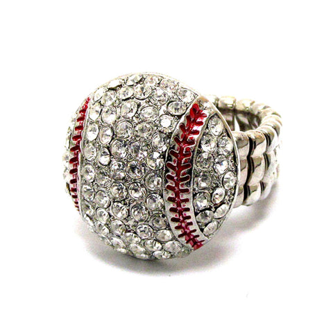 Sports Baseball - Crystal Deco Baseball Stretch Ring / AZSJRI007-SRD