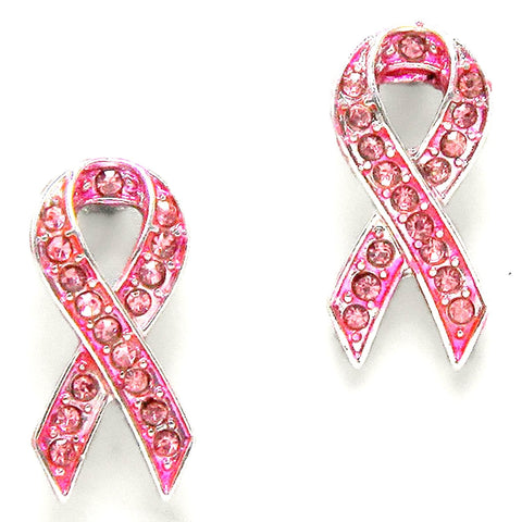 Arras Creations Trendy Fashion Crystal Pink Ribbon Earrings - Breast Cancer Awareness for Women / AZERBCA011-SPK