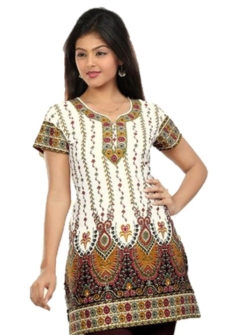 Indian Tunic Top Womens / Kurti Printed Blouse tops - AZDKJD-27A