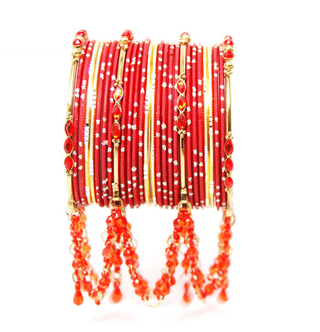 Bollywood style Indian designer metal bangle set. Size:2-10. Color:Gold - Red