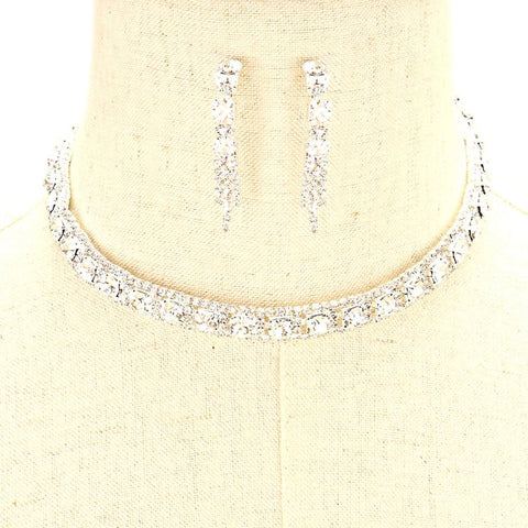Arras Creations Trendy Fashion Crystal Rhinestone Collar Necklace Set for Women / AZBLRH899-SCL