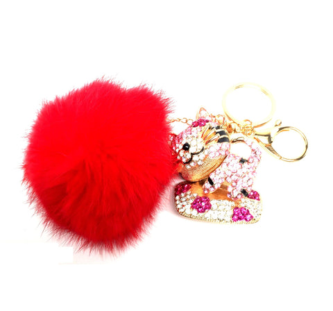 Fashion Rhinestone Fox Fur Cat Key Buckle Pom Pom Key Chain/Bag Charm For Women / AZKCPCA02-GRD
