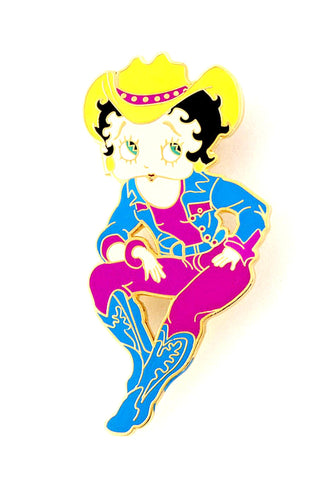 Trendy Fashion Classic Character Cow Girl Betty Boop Brooch For Women