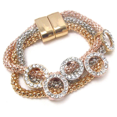 Fashion Trendy Crystal Deco Multi Ring Triple Chain Magnetic Bracelet For Women / AZBRST050-RML