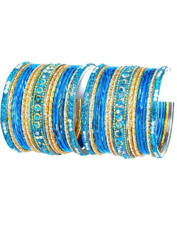 Bollywood style Indian designer metal bangle set. Size:2-06. Color:Gold