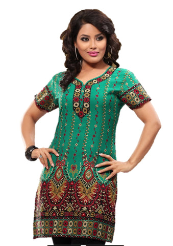 Indian Tunic Top Womens / Kurti Printed Blouse tops - AZDKJD-27C