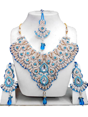 Bollywood Style Indian Imitation Necklace Set / AZBWBR061-GBL