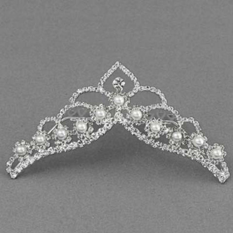 Fashion Silver Tone Rhinestone Tiara Comb Pageant Prom Wedding Tiara Party