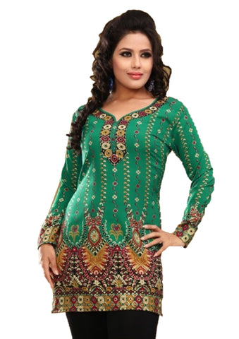 Indian Tunic Top Womens / Kurti Printed Blouse tops - AZDKJD-28C