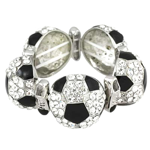 Fashion Trendy Sports Rhinestone Soccer Ball Bracelet For Women / AZBRCH836-SWB
