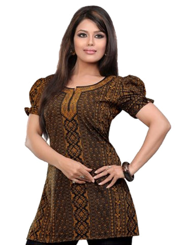 Indian Tunic Top Womens / Kurti Printed Blouse tops - AZDKJD-36S4