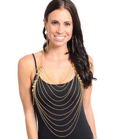 Fashion Trendy Body Chain - Gold Multiline Necklace for Women / AZFJBC005-GLD