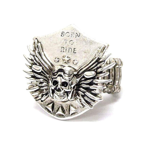 Arras Creations Fashion Trendy Unisex Skull and Wing Deco Born To Ride Bikers Stretch Ring For Women / AZRIFR001-ASL-BIK