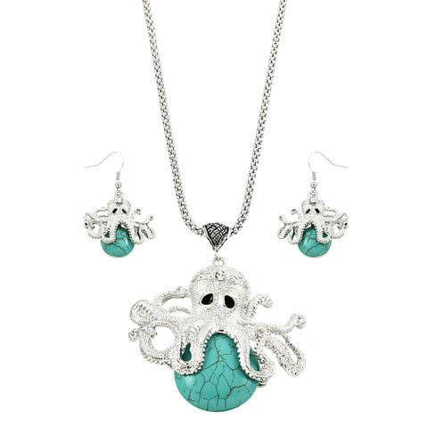 Sea Life Octopus Turquoise Stone Necklace & Earring Set / AZNSSEA311-STU
