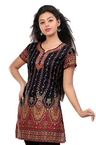 Indian Tunic Top Womens / Kurti Printed Blouse tops - AZDKJD-27B