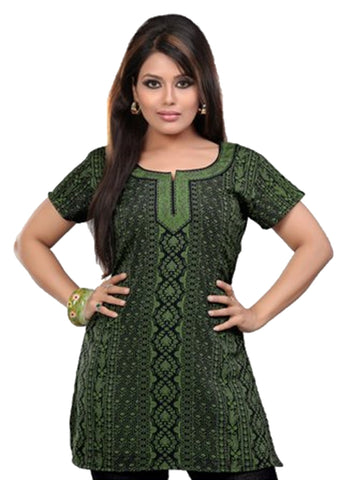Indian Tunic Top Womens / Kurti Printed Blouse tops - AZDKJD-36S2
