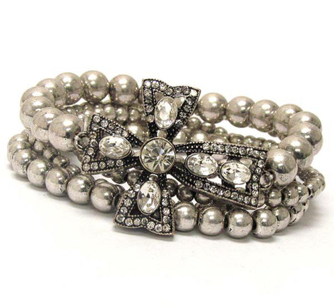 Fashion Trendy Cross and Multi Metal Balls Stretch Bracelet For Women / AZBRST020-BSL