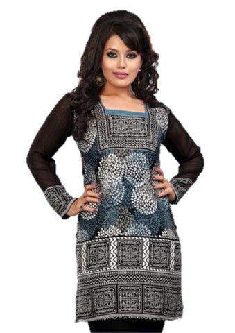 Indian Tunic Top Womens / Kurti Printed Blouse tops - AZDKJD-42C2