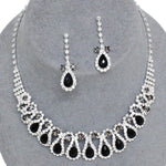 Arras Creations Trendy Fashion Rhinestones Bridal Necklace Set For Women / AZBLRH065-SBK