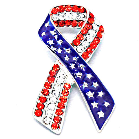 Independence Day / American Flag Patriotic Ribbon - Brooch/pin / AZFJBR023-SRB-PAT