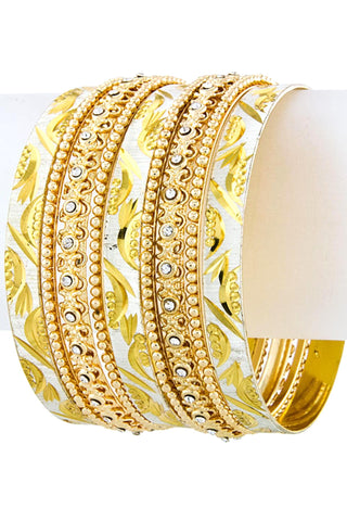 Fashion Trendy Authentic Moon Carved Stacked Bangles Bracelet for Women